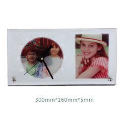 Высокое качество пустым Сублимация Стеклянная рамка для фотографий с часами