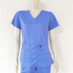 Klinik-Zahnarzt-Kurzschluss-Hülsen-Umhüllung der Form-Dame-Comfortable Work Uniform Elastan