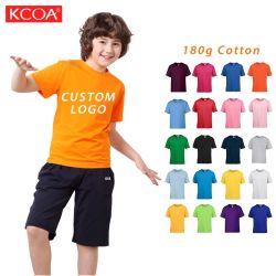 2021 China barata naranja impresas personalizadas cuello redondo Kids tshirt