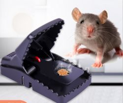 Rato reutilizáveis Capturas Armadilha de mola de plástico preto Mouse Hamsters Snap trap