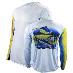 Sublimación personalizado de protección UV de secado rápido de manga larga camisetas de la impresión de la pesca de la playa de verano de vela