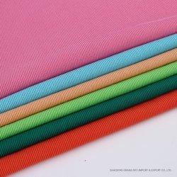 La nouveauté de qualité supérieure de la CVC 66%C34%t de coton tricotés Warp Rib Stripe Tissu pour T-shirt robe