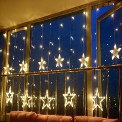 Decoração de Natal um ornamento Shopwindow Pentagram Janela Cortina de Luz de seqüência do LED