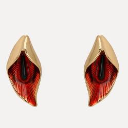 Nouveaux arrivés Bijoux Cheap Fleur rouge Stud Earring partie boucles en alliage de zinc pour les oreilles sensibles