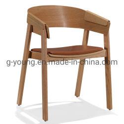 Best-seller restaurante/café cadeira de madeira do Apoio de Braço