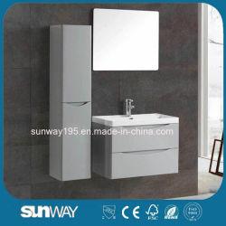 Hotel moderno de pared resistente al agua de tocador de baño con armario lateral