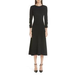 L'Imitation Pearl embelli Stretch crêpe de laine robe de cocktail moderne