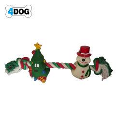 عيد ميلاد المسيح حبل كلب لعبة مع فينيل [كريستمس تر] ورجل ثلج