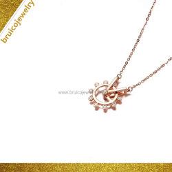 멋진 디자인 로즈 골드 체인 로듐 도금 다이아몬드 보석 목걸이 여아용
