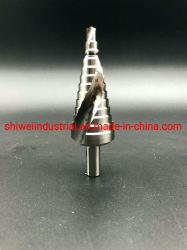 الجلبة الحلزونية لماكينة الثقب ذات الخطوات الخاصة HSS، حز الحلقة، الطبقة النهائية الساطعة، 3 ساق مسطحة