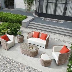 Rattan-Möbel-Freizeit-Leder-Sofa-Garten-Sets mit Schemel
