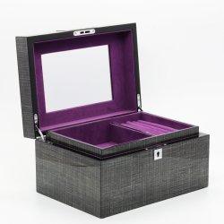 Hölzerner Schmucksache-Geschenk-Kasten mit MDF/Glossy Lack/silbernen Befestigungsteilen/silbernem Verschluss-Spiegel/purpurrotem Flanell