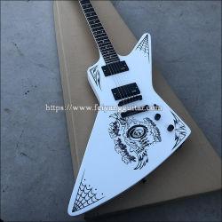 Special-Shaped guitarra elétrica de alta qualidade, pintura branca tinta impressa, madeira de rosa Fingerboard, Pêssego Blossom Core Madeira, Guitarra acessórios pretos Inst musicais