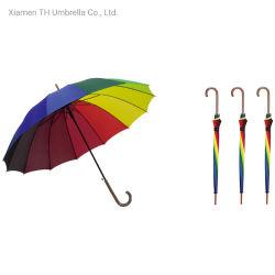 Custom 14 ребер Rainbow прямо под эгидой/ автоматически открывать длинные Memory Stick рекламы зонтик/Fashion поощрения зонтик для леди