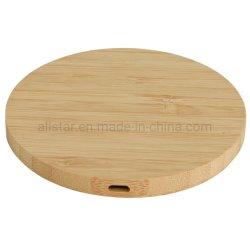 Caricatore senza fili di bambù senza fili portatile standard della stazione di carico del telefono del Qi