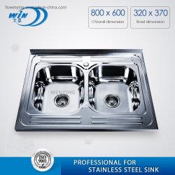 Taça duplo SUS Comercial 201 Dissipador de lavagem vegetais Wy8060d