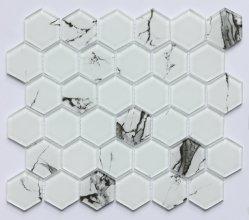 공장 공급 육각형 Carrara 벽을%s 백색 유리제 모자이크 타일
