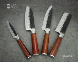 손은 위조했다 자단, 손잡이 (SE-6521)를 가진 망치로 쳐진 패턴 칼 또는 Janpanese 작풍 식칼 세트를