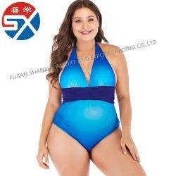 Profundo Azul do gradiente V Sexy Backless Halter Swimwears cintura elevada com capa amovível