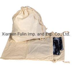 Sacchetti organici naturali 100% stampati personalizzati promozionali della lavanderia della lavata del Drawstring della tela di canapa del cotone del calicò di modo grandi di corsa del pattino di memoria della polvere del sacchetto normale dell'imballaggio