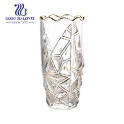 De in het groot Goedkope Vaas van het Glas van de Bloem van het Ontwerp van de Decoratie van het Huis Elegante met Gouden Rand