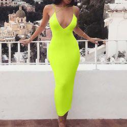 2019명의 최신 판매 주문 폴리에스테 면 단단한 숙녀 복장 네온 색깔 여름 여자 복장