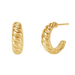 De Juwelen van de Manier van Nagosa 925 Echte Zilveren Verdraaide Oorringen van de Croissant van de Oorringen van de Koepel 18K Goud Geplateerde