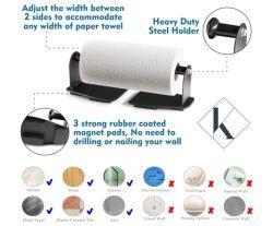 حامل منشفة ورق مغناطيسي - حامل فولاذ للخدمة الشاقة مع ظهر مغناطيسي - يلتصق بأي سطح لامائي - للمطبخ، ومقاعد العمل، وخزانات التخزين، والشواء