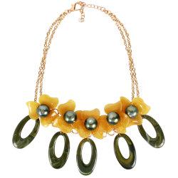 Flores Pearl liga de cordão de Resina Acrílica elegante corrente Senhoras Jóias Colar