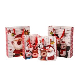 Cina Commercio all'ingrosso Stampa di lusso Natale Confezione regalo Kraft Shopping Tote Borse di carta per gioielli a nastro di moda
