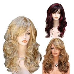 2019 União e American Peruca Multicolor Médio longos cabelos encaracolados
