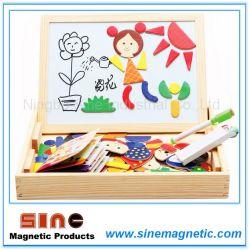 Placa gravável de quebra-cabeças de madeira magnética com uma caneta