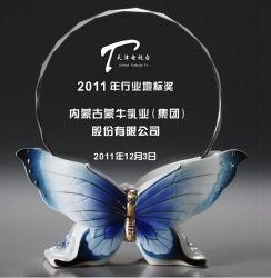 De Ambacht van de Trofee van het Glas van het Kristal van de Basis van de vlinder voor Decoratie