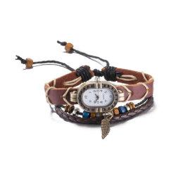 L'Ouest cuir vintage avec matériau en alliage de zinc Montre bracelet