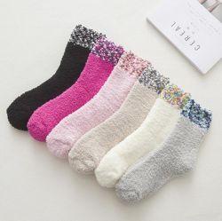OEM Lady Soft Cozy Socken Microfiber Sock mit DOT Design Manschette