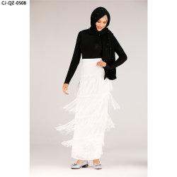 新しい方法党固体色の偶然の女性スカート不規則との フリンジ( Fringge
