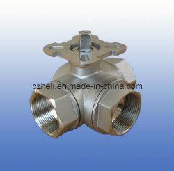 Port réduit à 3 voies avec des plaquettes de montage du clapet à bille de la norme ISO5211