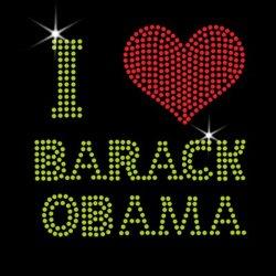 Я люблю Барака Обамы Rhinestone передачи утюг на тему