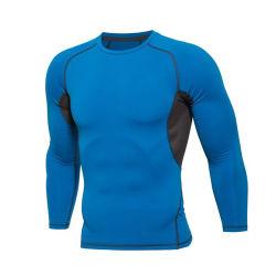 De Manga Longa azul Esportes Musculação Ginásio Fitness Camisa de compressão de Lycra com desgaste