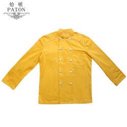 La conception personnalisée de couleur jaune Chef couche uniforme