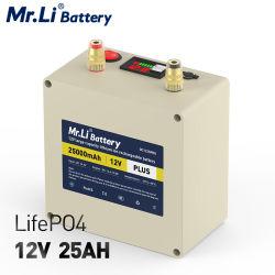 LiFePO4 12V 25A電池の屋外のキャンプのボート軽い車の開始のための再充電可能なリチウム電池携帯用電池中国製