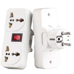 Toma de corriente universal portátil blanco nos de la UE toma la extensión del Reino Unido 250V 6A 10A 125V Transformador Adaptador de enchufe con interruptor on/off