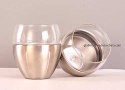 Três camadas de aço inoxidável de vidro borossilicato isolamento por vácuo Travel Caneca 250ml