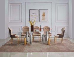 En verre clair moderne de luxe Golden Table à manger ensemble pour la maison Meubles de salle à manger