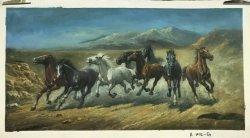 الفن اليدوي الحيوانات الركض الخيول قماش إعادة إنتاج الطلاء النفط