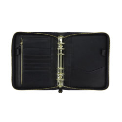 Personalizada Una4 A5 negro de cuero multifunción, Organizador de la carpeta de negocios