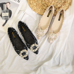 مريحة محدّد مسطّحة أحذية نساء ضحلة فم [لديس] نابض وفصل خريف نمو أحذية مع لؤلؤة إبزيم مستديرة وحجم كبيرة لأنّ إنتقاء