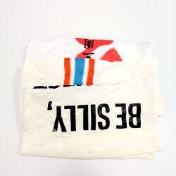 Impressão branco T-shirt moinhos de material têxtil reciclado Trapos Resíduos têxteis tecidos estampados de algodão