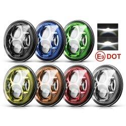 DOT Super Bright Spider Design Angel Eye 75W 황색 백색 DRL 방향 지시등 24볼트 12V H4 LED 오토바이 지프 랭글러용 할리 7인치 LED 헤드라이트