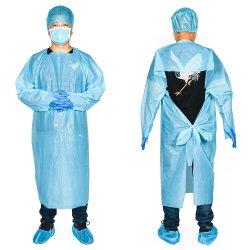 Robe Robe de CPE de l'isolement Imperméable Bleu tablier non médicale des certificats approuvés Tablier jetable imperméable bleu CPE Gros tabliers jetables